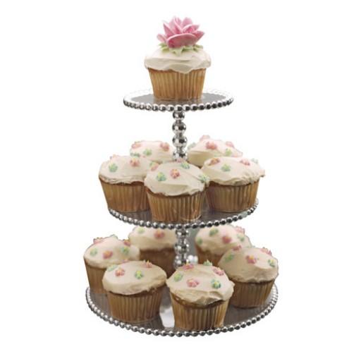 Mariposa Pearl Three-Tiered Cupcake Server