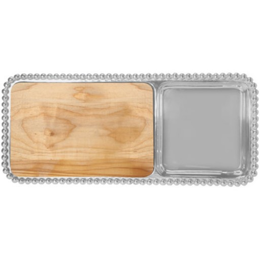 Pearled Cheese and Cracker Server with Wood Insert