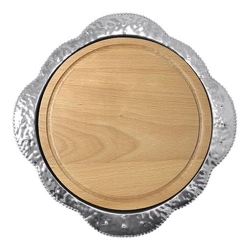 Mariposa Sueno Round Platter with Wood Insert