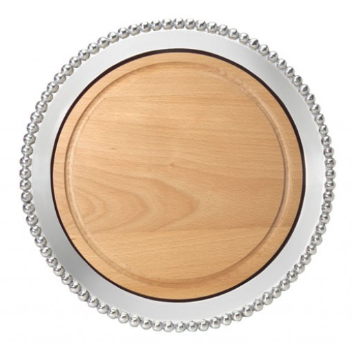 Mariposa Pearled Round Platter with Wood