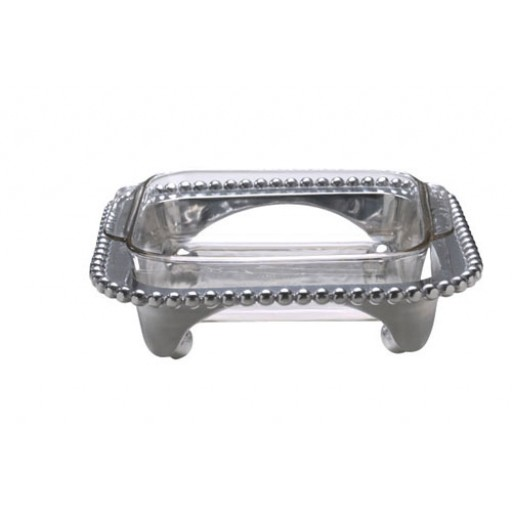 Mariposa String of Pearls Square Casserole Stand with Pyrex Glass Insert