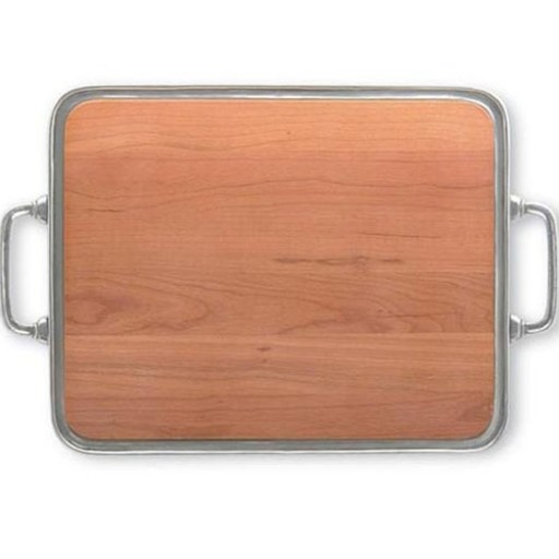 Match Pewter Cheese Tray with Cherry Wood & Handles - Large