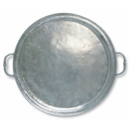 Match Pewter Round Tray with Handles - Large
