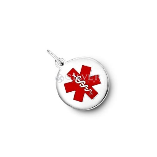Sterling silver round medical id pendant medium round medical id pendant medium mozeypictures Image collections