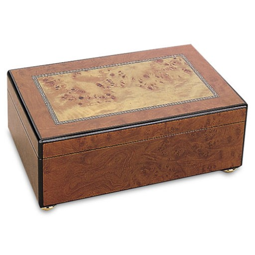 Reed and Barton Justine Jewelry Chest - Burled Cherry/Ebony Trim