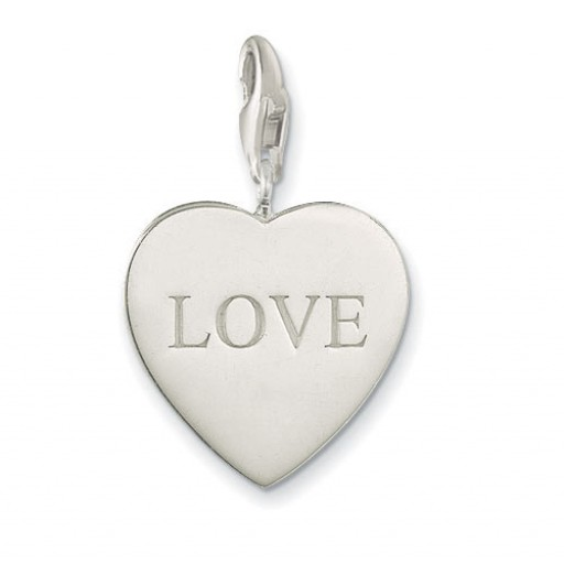 Love Heart Charm - Sterling Silver