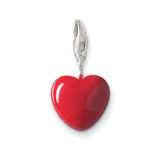 Red Enamel Heart - Sterling Silver