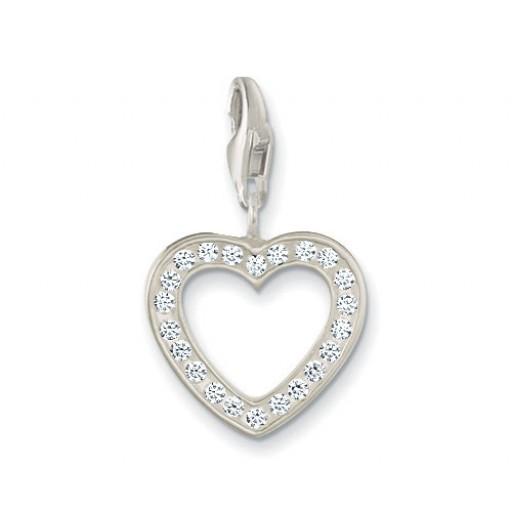 Open Heart Charm - White CZ & Sterling Silver