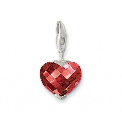 Garnet Heart Charm - Sterling Silver