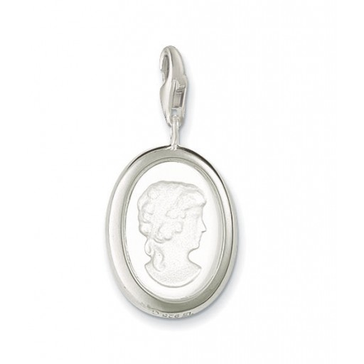 Cameo Lady Charm - Satined Crystal & Sterling Silver