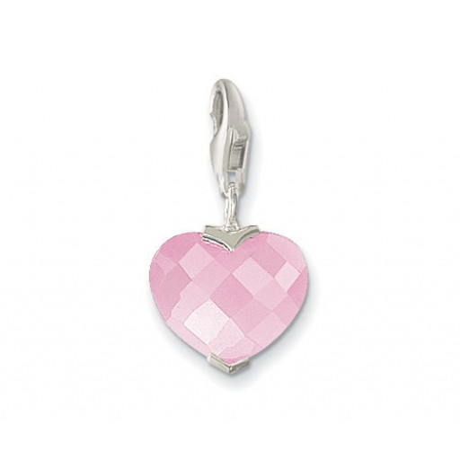 Heart Charm - Sterling Silver & Pink CZ