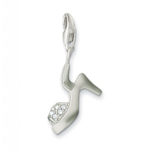 Wedge Charm - White CZ & Sterling Silver