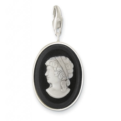 Black Crystal Cameo Lady - Sterling Silver