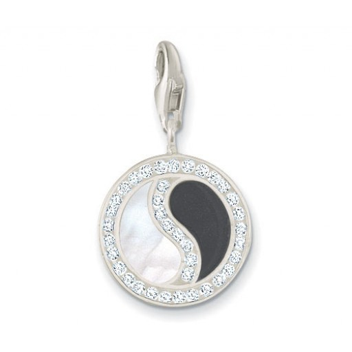 Onyx & Shellstone Yin Yang Charm - Sterling Silver