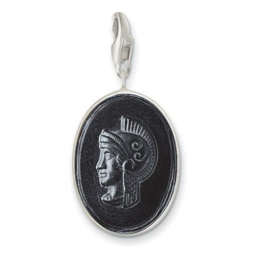 Roman Camoe - Black Crystal & Sterling Silver