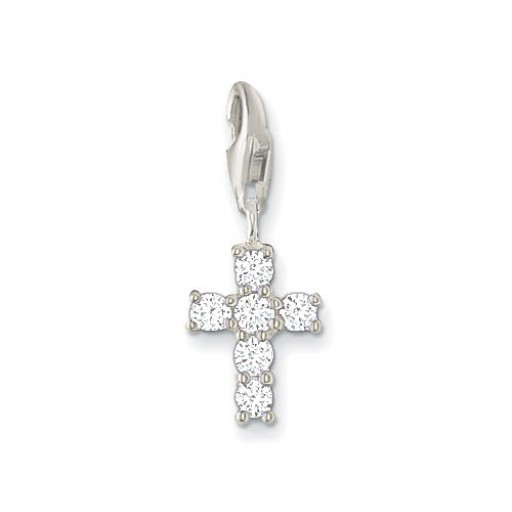 Classic Cross Charm - White CZ & Sterling Silver