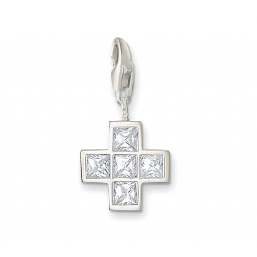 Gothic Cross Charm - White CZ & Sterling Silver