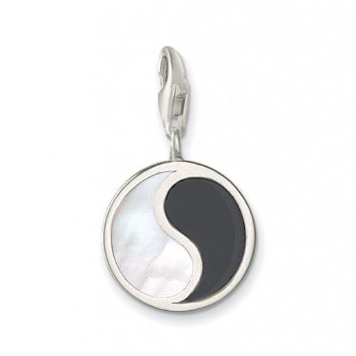 Onyx & Shellstone Yin Yang Charm - Classic Sterling