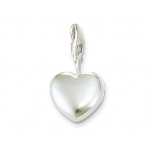 Puffed Heart Charm - Sterling Silver