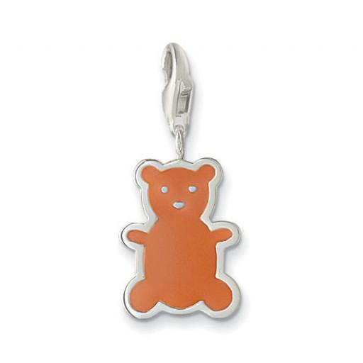 Little Teddy Bear Charm - Brown Enamel & Sterling Silver