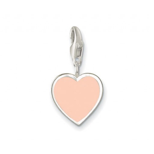 Heart Charm - Baby Pink Enamel & Sterling Silver