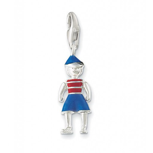 Boy Charm - Blue Enamel & Sterling Silver
