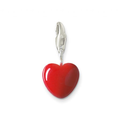 Small Heart Charm - Red Enamel & Sterling Silver