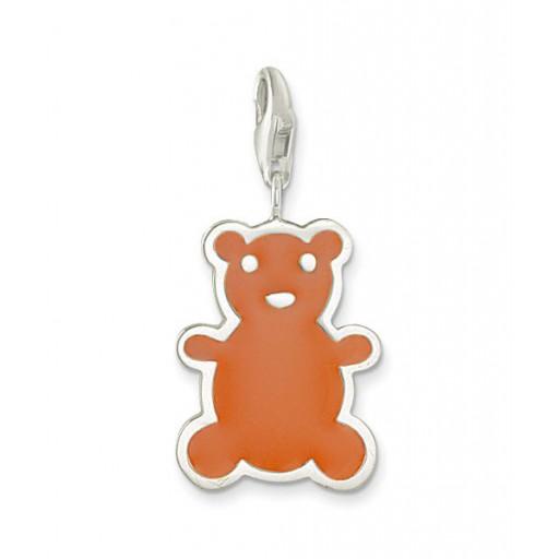 Teddy Brown Bear Charm - Enamel & Sterling Silver