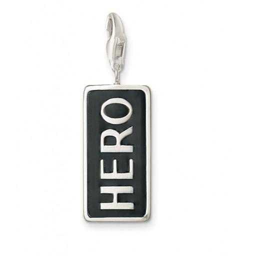 HERO Charm - Black Enamel & Sterling Silver