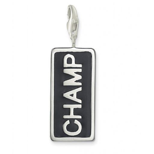 CHAMP Charm - Black Enamel & Sterling Silver