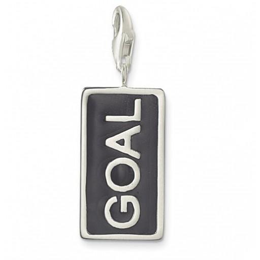 GOAL Charm - Black Enamel & Sterling Silver