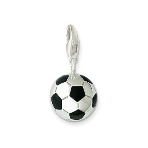 Soccer Charm - Black Enamel & Sterling Silver