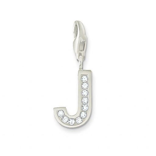 J CZ Letter Charm - Sterling Silver