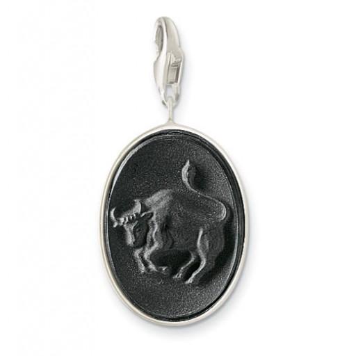 Onyx Taurus Charm - Sterling Silver