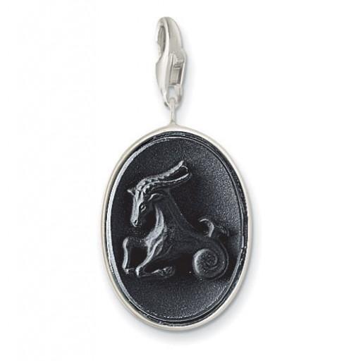 Onyx Capricorn Charm - Sterling Silver