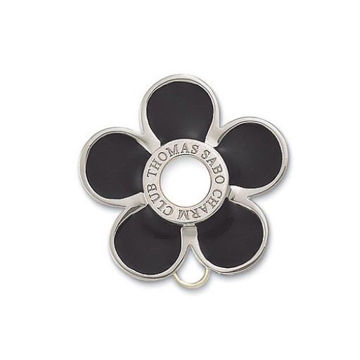 Flower Charm Brooch - Black Enamel & Sterling Silver