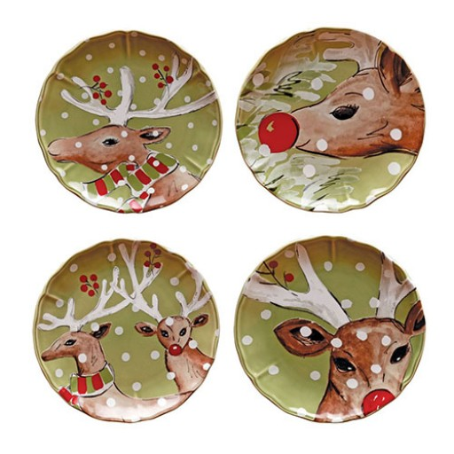 Casafina Deer Friends Salad & Dessert Plates - Set of 4 - Available from SilverGallery.com