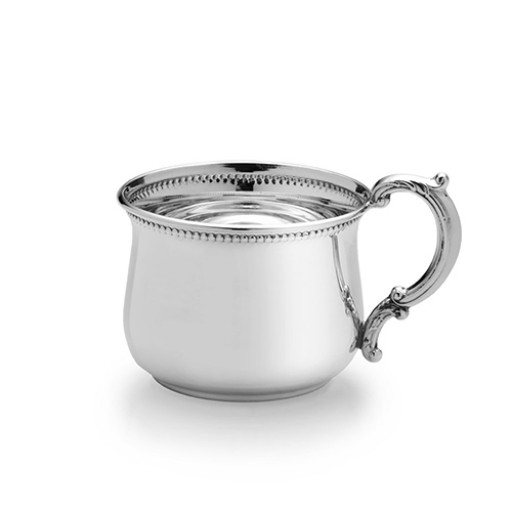Empire Sterling Silver Bulged Beaded Baby Cup - Engrave yours at SilverGallery.com