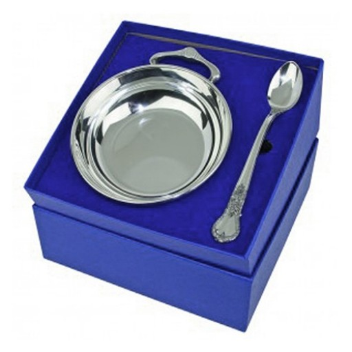 Salisbury Pewter Images Porringer & Spoon Baby Gift Set - Engrave yours at SilverGallery.com!