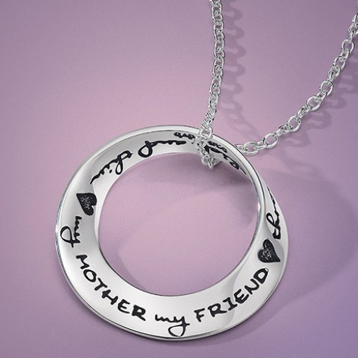 "Sterling Silver Quote Mobius Necklace - ""My Mother My Friend"""