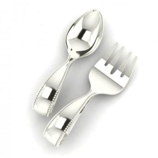 Sterling Silver Beaded Loop Baby Spoon & Fork Set