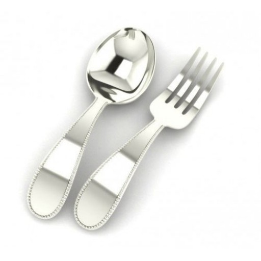 Sterling Silver Beaded Baby Spoon & Fork Set