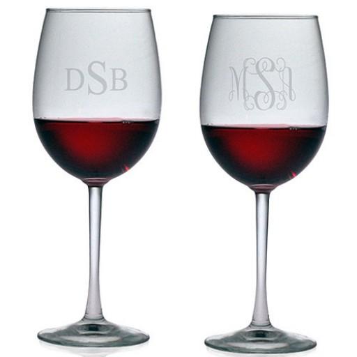 All Purpose Wine Glasses - Monogram (Set of 4)
