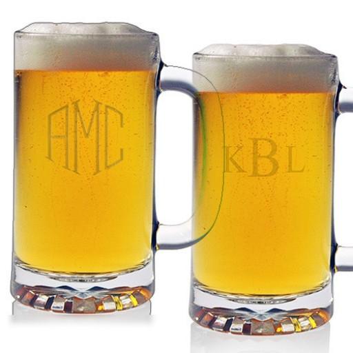 Pub Beer Mugs - Monogram (Set of 4)