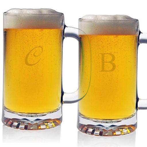Pub Beer Mugs - Initial (Set of 4)