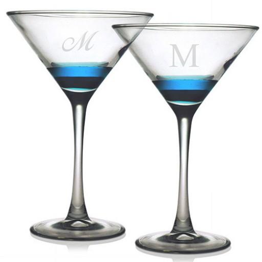 Martini Glasses - Initial (Set of 4)
