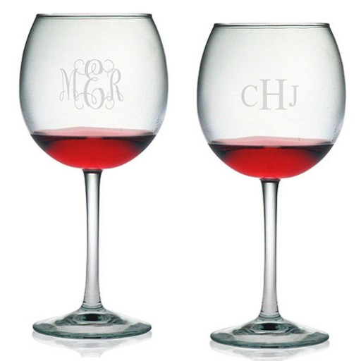 Ballon Wine Glasses - Monogram (Set of 4)