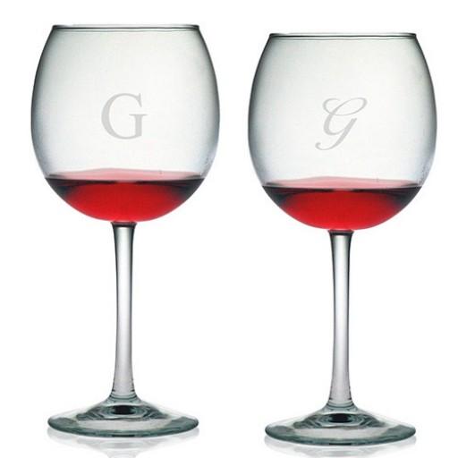 Ballon Wine Glasses - Initial (Set of 4)