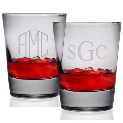 Double Old Fashioned Glasses - Monogram (Set of 4)