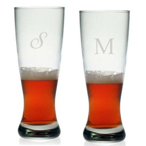 Grand Pilsner Glasses - Initial (Set of 4)